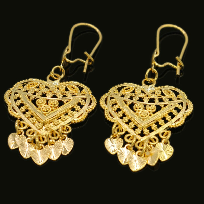 Heart Gold Earrings Gold Color  Ethiopian/African/India Women Wedding Charms Earring Jewelry for Girls Gifts