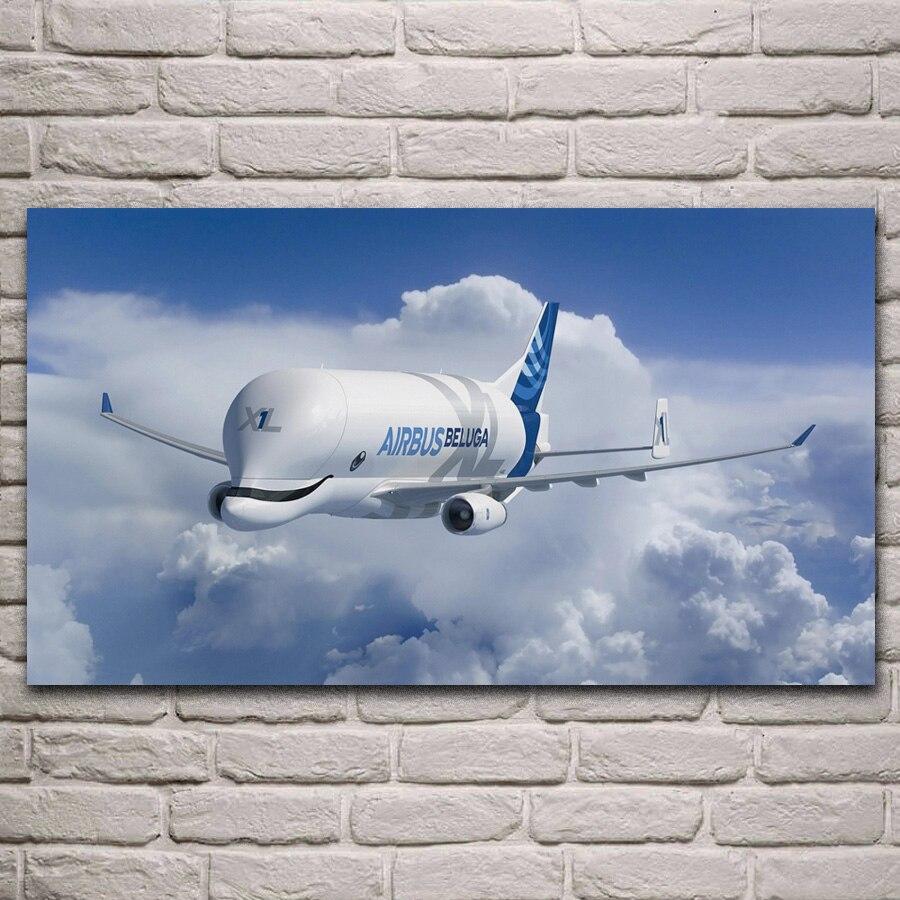 Más lindo aviones airbus beluga súper transportador a300 habitación decoración casa arte decoración de marco de madera y tela cartel KH651