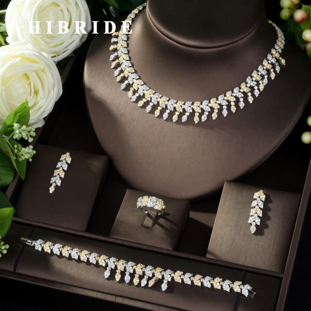 HIBRIDE Luxury Women Jewelry Leaf Shape Bridal CZ Necklace Earrings Bracelet Ring 4pcs Big Wedding Jewelry Sets for Bride N-977
