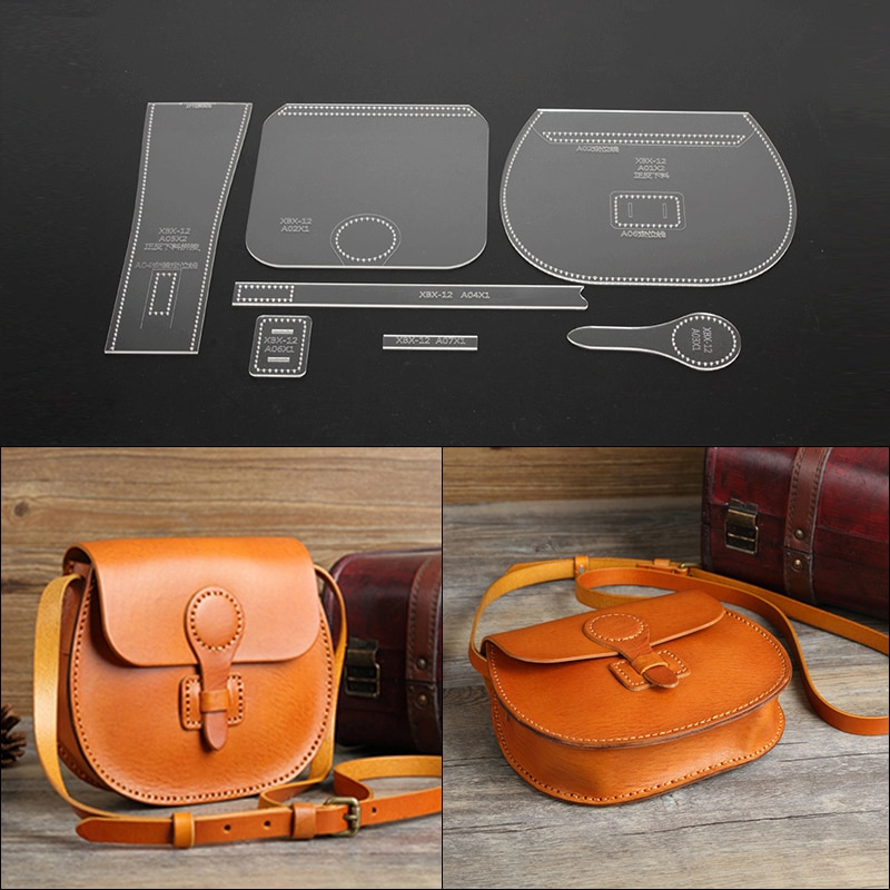 7Pcs Acrylic Leather Tool Template Vintage Shoulder Bag Handbag Pattern Stencil Template outil pour le cuir Tools for Leather