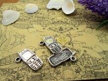 15 pièces-16*24 MM Antique argent mini téléphone cellulaire un côté pendentif à breloques résultats de bijoux