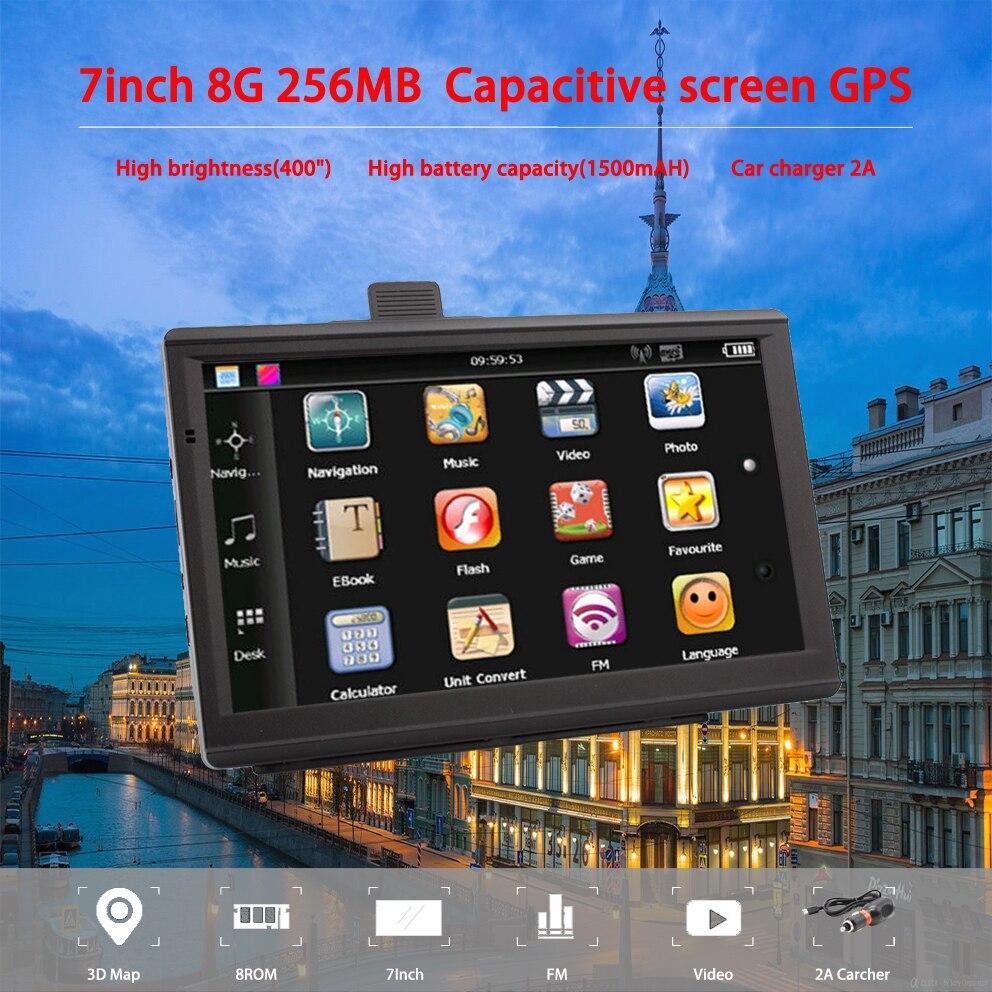 Navegador Gps Oriana de 733, 7 pulgadas, para coche, camión, navegador Gps de 256MB + 8 GB, pantalla capacitiva Sat Nav, el mapa más nuevo de Europa, Rusia Navitel