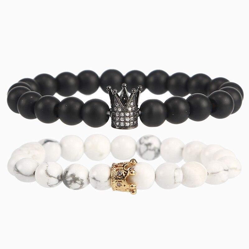 2 pulsera de pareja de unids/set cuentas de piedra Natural de moda hombres corona pulseras para mujeres pulsera erkek bileklik Yoga pulsera joyería