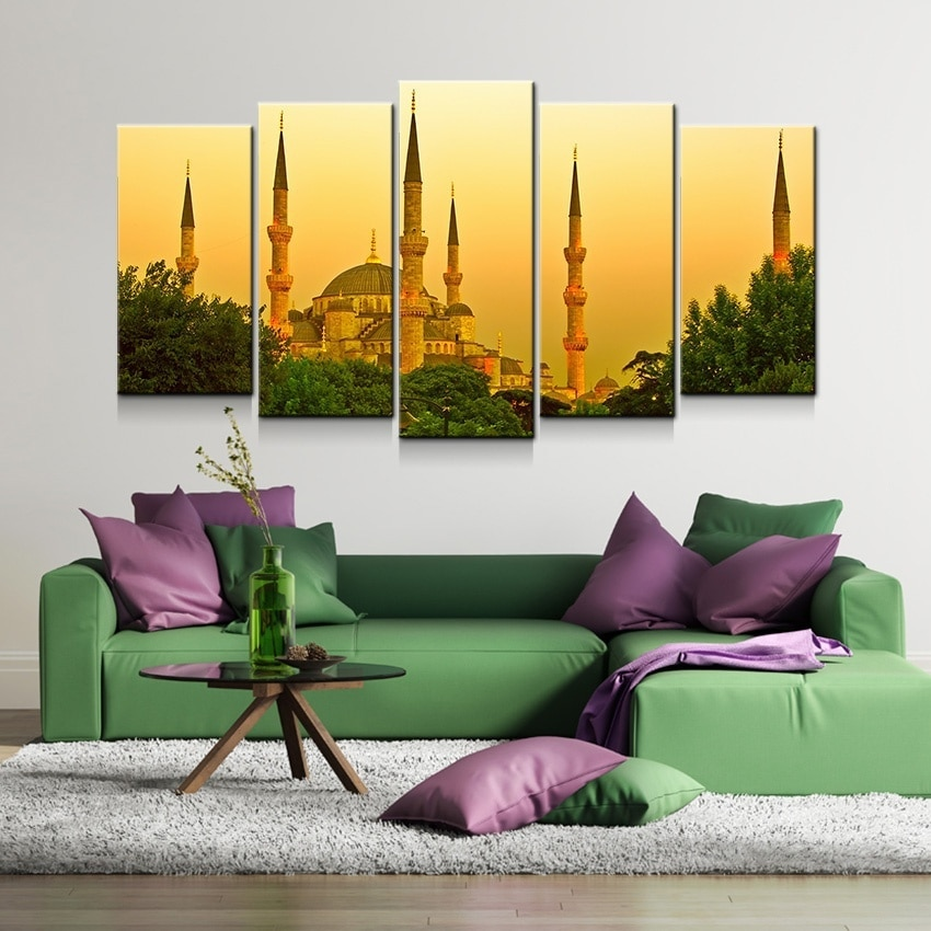 5pcs Beautiful Istanbul Turkey Dusk Modern Art HD Canvas Print Painting House Hotel Cafe Office