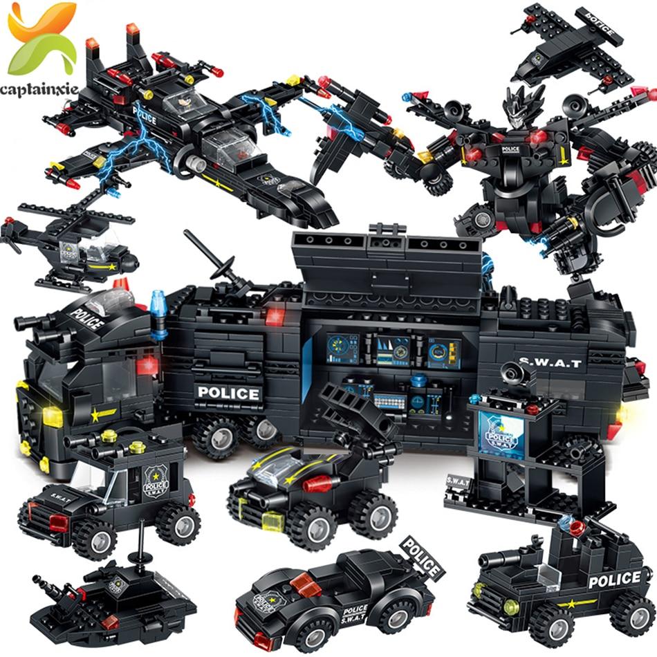 820 Uds. Equipo de policía SWAT bloques de construcción ciudad comando camión coche helicóptero Mech arma soldado bloques de modelismo juguetes para niños