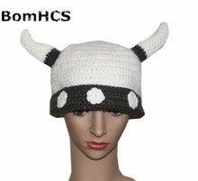 BomHCS regalo Cool vikingos cuernos Caballero Beanie máscara sombrero al aire libre hecho a mano de punto de invierno grueso gorros de fiesta