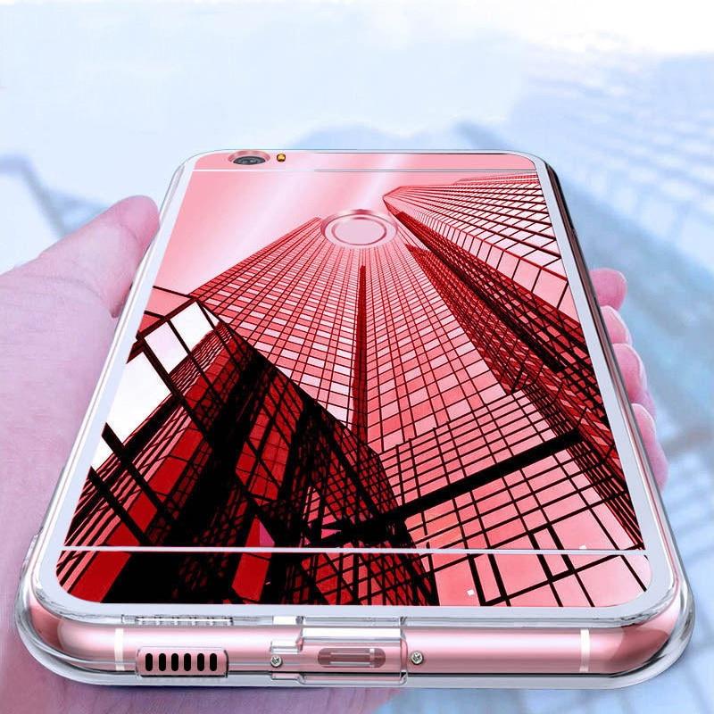 Los casos espejo suave de TPU funda de silicona para Huawei Y5II P Smart P9 P8 P10 P20 Mate 10 Lite Mini Plus Honor 10 6c Pro 8 9 V9 jugar