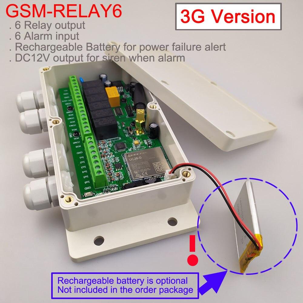 لوحة التبديل عن بعد GSM ، خرج 3G ، 6 مرحلات ، (مفتاح مرحل SMS) ، بطارية على اللوحة لجهاز إنذار إيقاف التشغيل