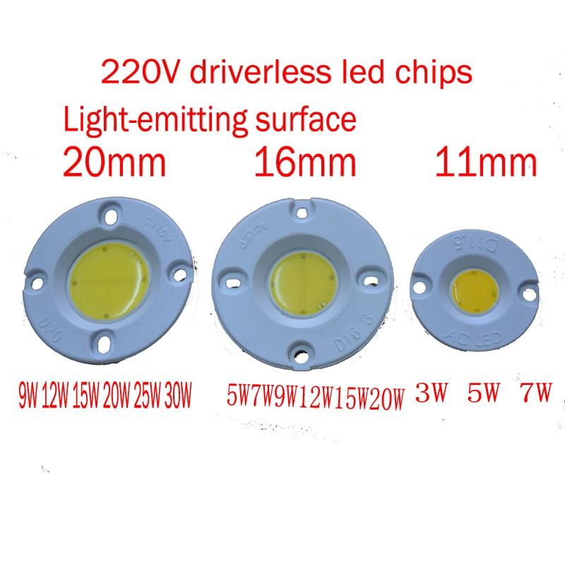 High Brightness driverless PCB 220V 3W/5W/7W/9W/12W/15W/20W/30W Round COB LED Bulb LED Chip Light Lamp White&Warm White