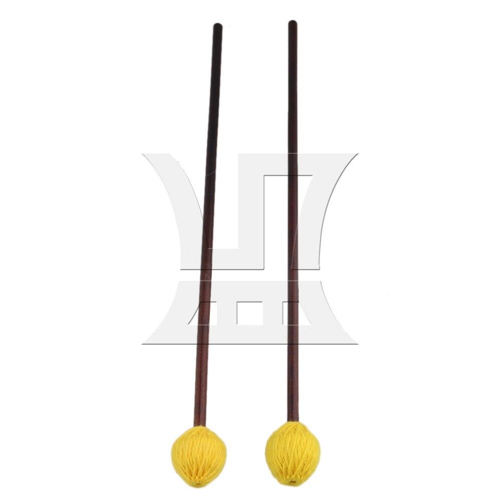 "Yibuy 16 ""Amarelo Marrom Escuro Médio Duro Marimba Marretas Fio Cogumelo Cabeça Bordo Shaft para Instrumentos De Percussão"