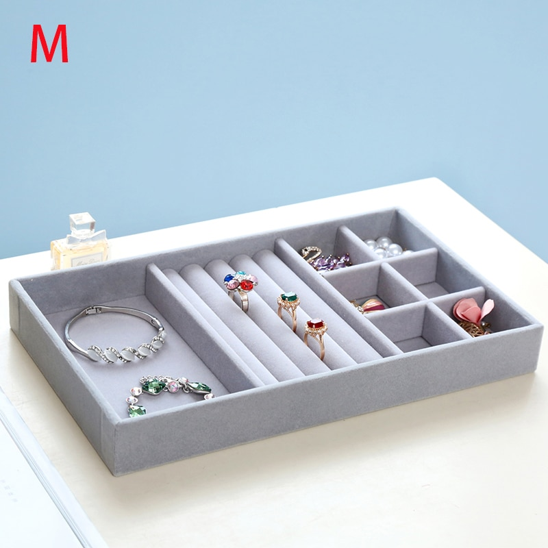 Gray Velvet Ring Bracelet Necklace Watch pendant wek-jin Stud earring Hand catenary Jewelry Tray Plate Showcase Display A232