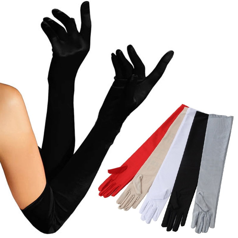 Fashion Elbow Classic Long Gloves For Dancing Party Women Overlength Solid Color Sun Etiquette Protection 1Pair