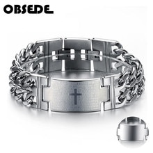 OBSEDE hommes Punk seigneur prière jésus croix Bracelet titane acier Bracelets 316L en acier inoxydable bijoux breloque Bracelet chaîne Bracelet