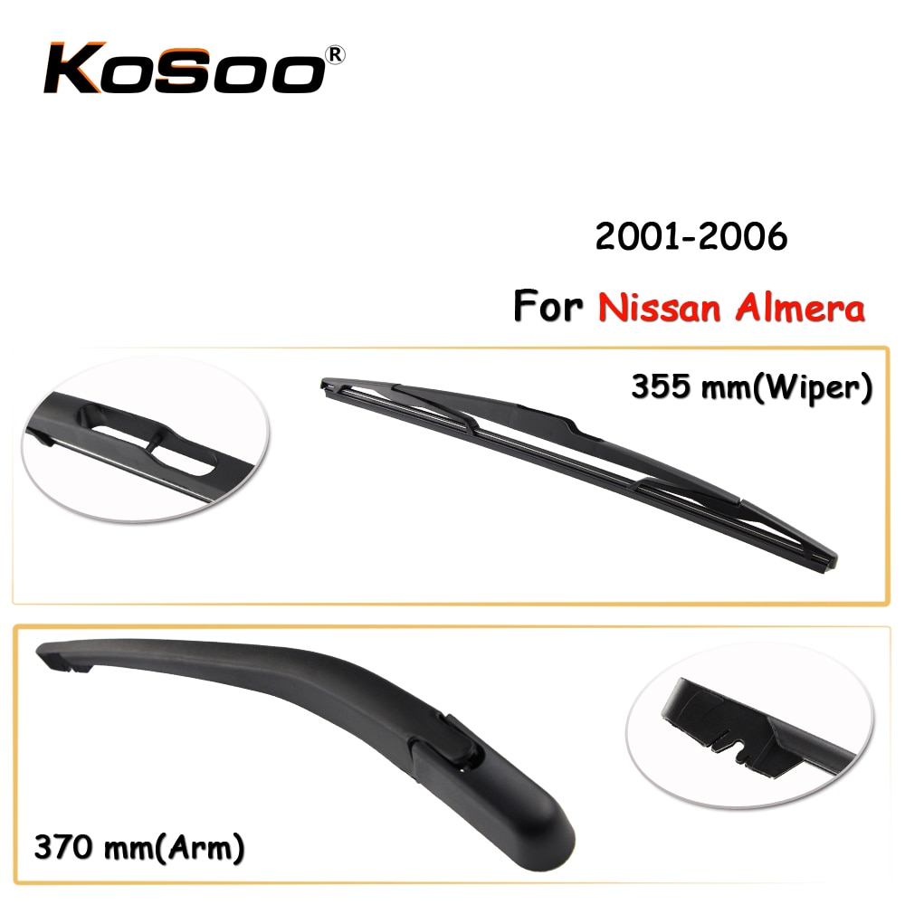Kosoo auto escobilla limpiaparabrisas trasera para Nissan Almera, 355mm 2001-2006 limpiaparabrisas de ventanilla trasera cuchillas brazo, accesorios de coche