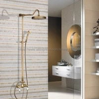 antique brass wall mount 7 7 inch bathroom shower faucet mixer taps dual handle with hand held shower nan504