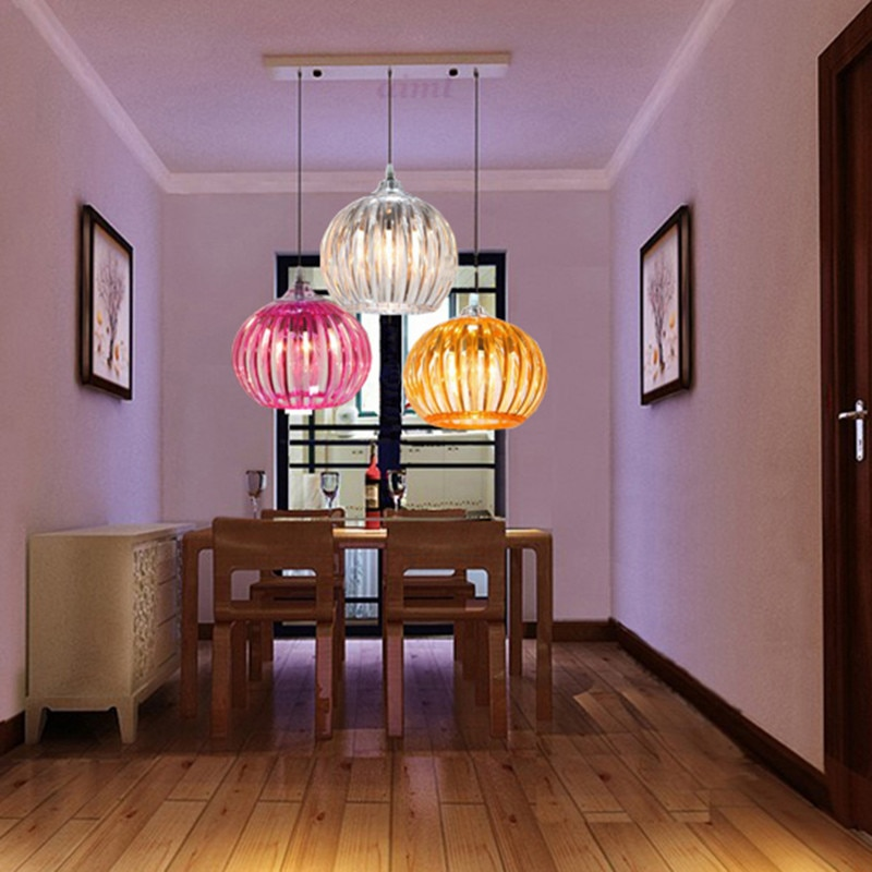 LED Color Acrylic creative buffet meal cafe children study 31w - 40w pumpkin lamp 110v-240v  - buy with discount