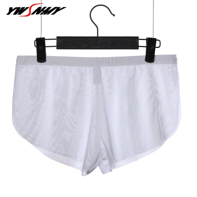 Bóxer para hombre, Boxers de malla transparente Ultra finos sexys, ropa interior erótica de tiro bajo, ropa interior para sexo masculino Gay, calzoncillos Cueca para hombre