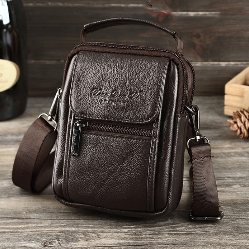 Men Small Shoulder Messenger Crossbody Fanny Bags Casual Belt Hip Bum Waist Pack Pouch Handbag Genuine Leather Tote Business Bag