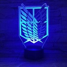 1 pièce 7 couleurs lampe Anime attaque sur Titan ailes de liberté 3D lumière tactile lampe à LED USB ou 3AA lampe à piles enfants cadeau