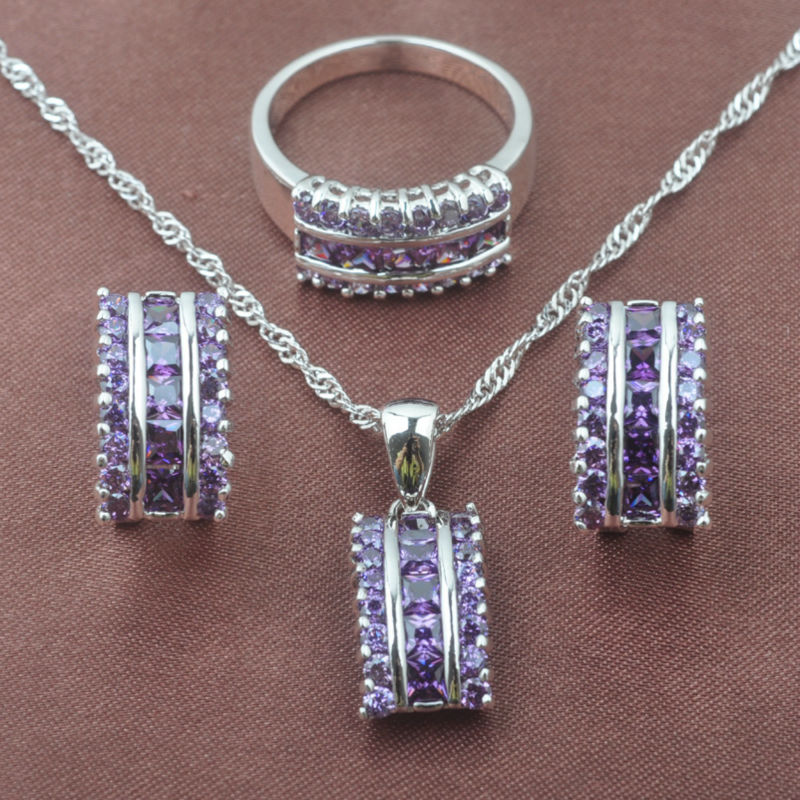 Натуральные фиолетовые Кристальные украшения, наборы, женские летние аксессуары, свадебные ювелирные серьги CZ, кольцо, ожерелье, подвеска, TZ0143