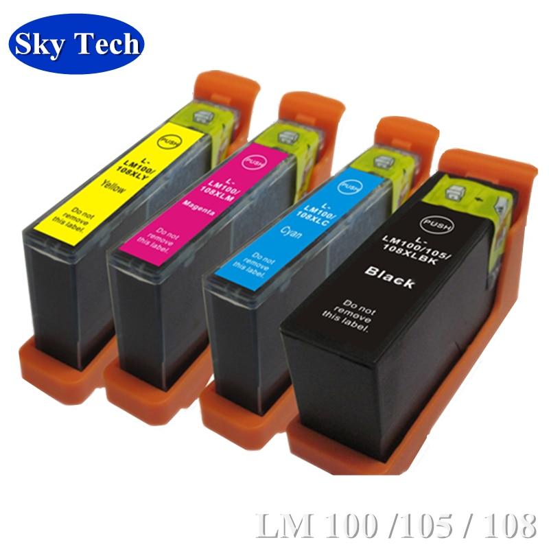 4X cartucho Compatible para Lexmark LM100 LM105 LM108 para Lexmark S301 S302 S305 S405 S308 S408 S508 S608 Pro 205 de 209 a 707