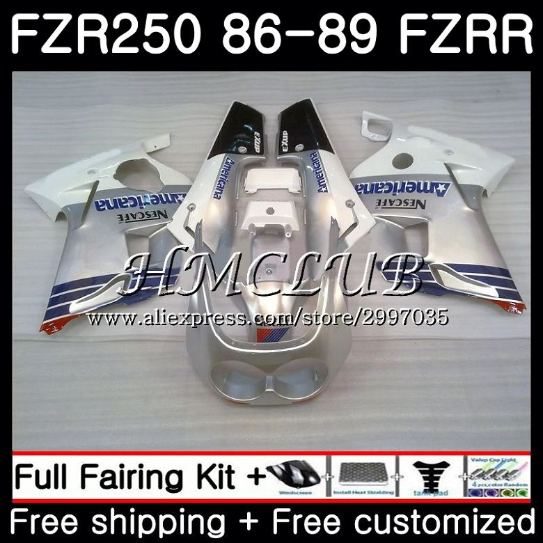 Body Silver black For YAMAHA FZRR FZR 250R FZR 250 1986 1987 1988 1989 1HC.6 FZR250RR FZR250R FZR-250 FZR250 86 87 88 89 Fairing