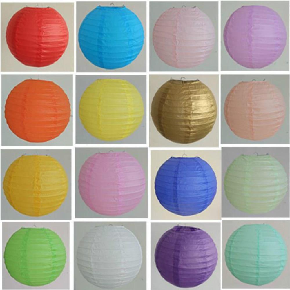 "4 ""6"" 8 ""10"" 12 ""14"" 16 ""farolillo chino de papel de decoración de fiesta de boda Lampion Ball deseo luz Festival decorativo 32 colores"