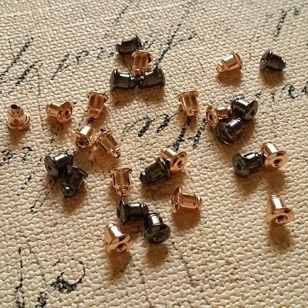 Free Nickel ~ 6*5MM 1000Pcs Rose Gold / Black Gunmetal Earring Back Ear Studs DIY Jewelry Findings Accessories