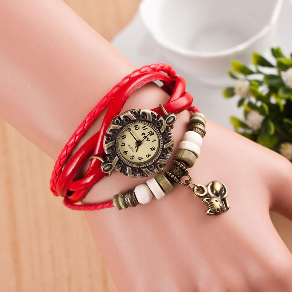 2019 New Arrival High Quality Women Watches Quartz Weave Around Leather Cat Bracelet Lady Woman Wrist Watch relojes de mujer *L