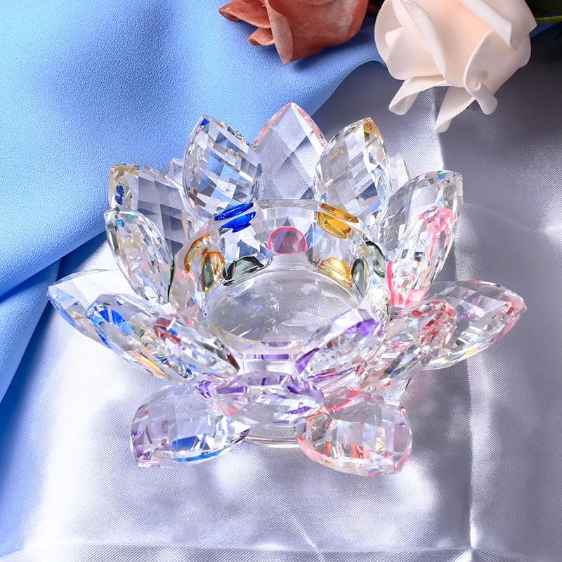 Candelero de cristal hecho a mano con flores de loto, de 7 colores candelabro, soporte de vela de cristal para centros de mesa, decoración del hogar