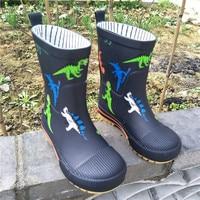 Kids Rain Boots For Boys Rubber Boots Waterproof Baby Girls Water Shoes Children's Rainboots Removable Non-slip Cartoon Dinosaur