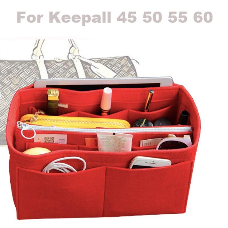 Para [keepall 45 50 55 60] 3mm sentiu bolsa organizador saco no saco tote organizador inserção fralda (com bolso zip destacável)