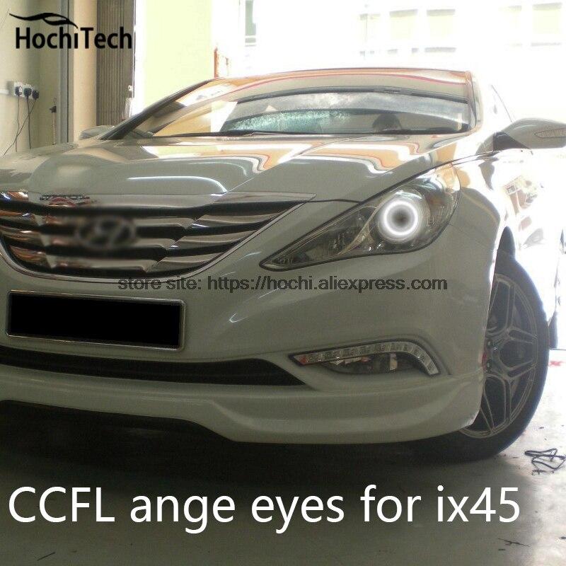 Hochitech branco 6000 k ccfl farol de halo anjo demônio olhos kit anjo olhos luz para hyundai sonata i45 2009 2010 2011 12 13 2014