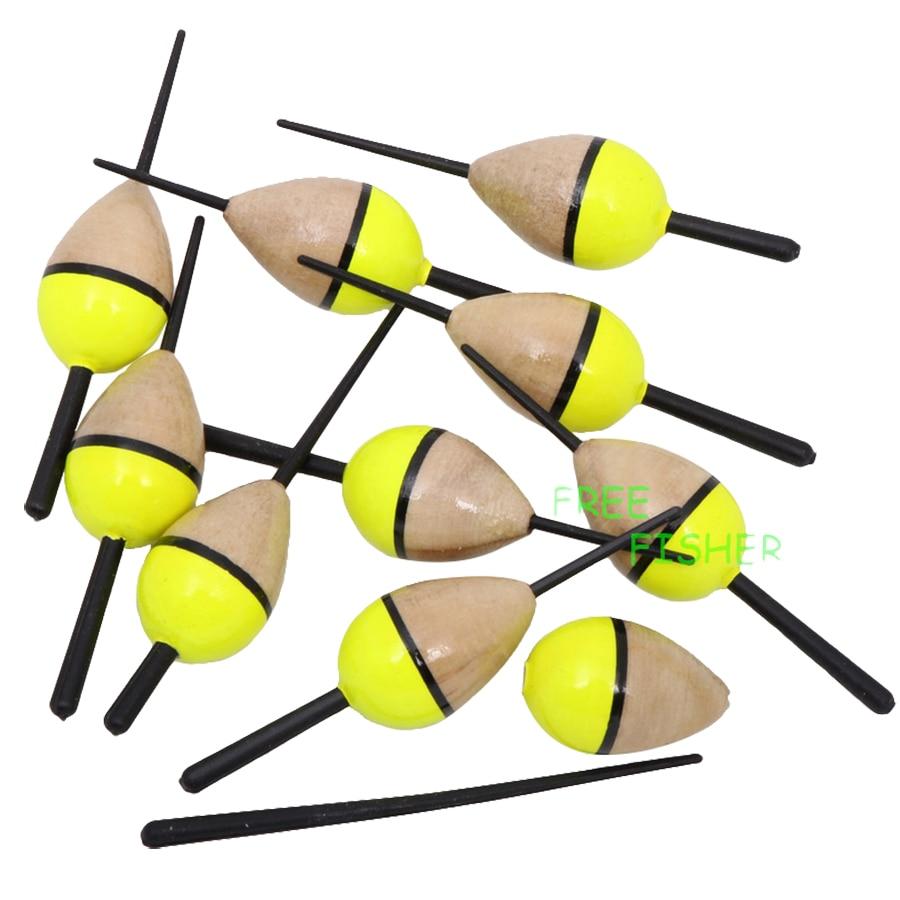 10 шт./партия рыболовных крючков из пробкового дерева плавающий желтый pesca освещенные из бальзового дерева буй древесины 1,5 г/8,3 см рыболовные...