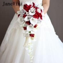 JaneVini-ramo De flores rojas en cascada para novia, ramo De flores De boda con perlas artificiales De cristal, rosa, 2021