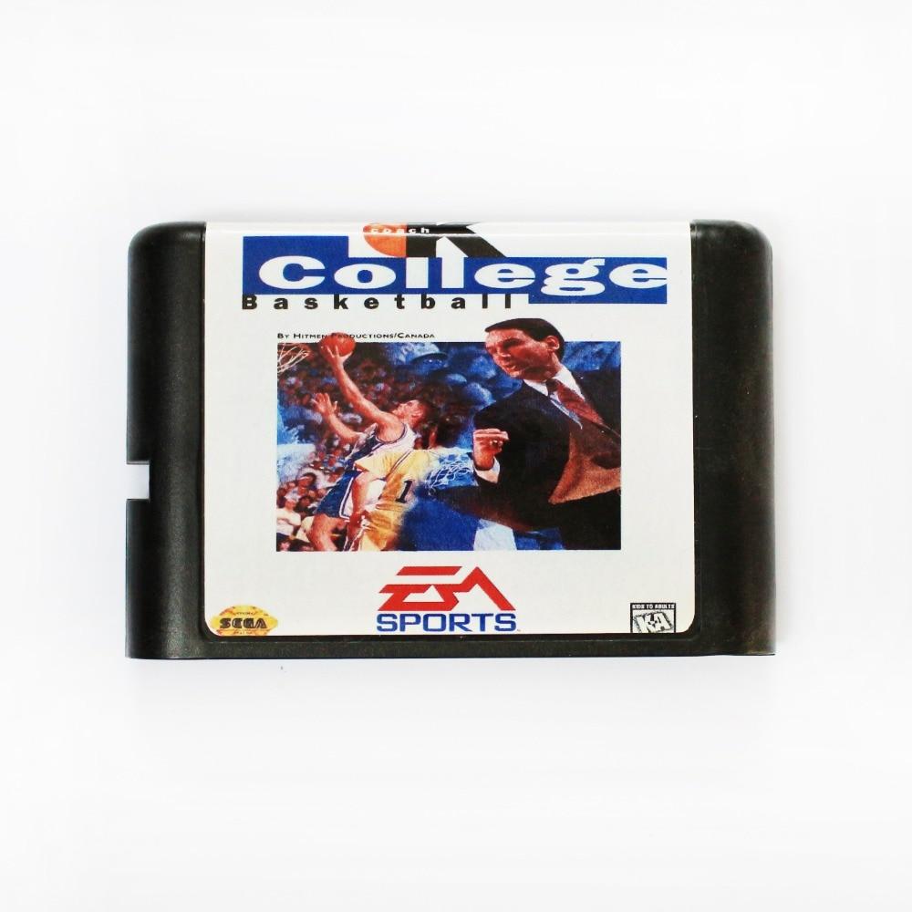 Entrenador K College baloncesto 16 bits MD tarjeta de juego para Sega Mega Drive para SEGA Genesis