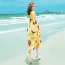 2017 été nouveau populaire bord de mer vacances plage sans manches imprimé robe en mousseline de soie robe Positian