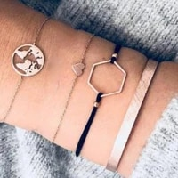 4 pcs set multilayer small heart hollow earth bracelets set geometric link rope chain gold bracelets set women daily jewelry