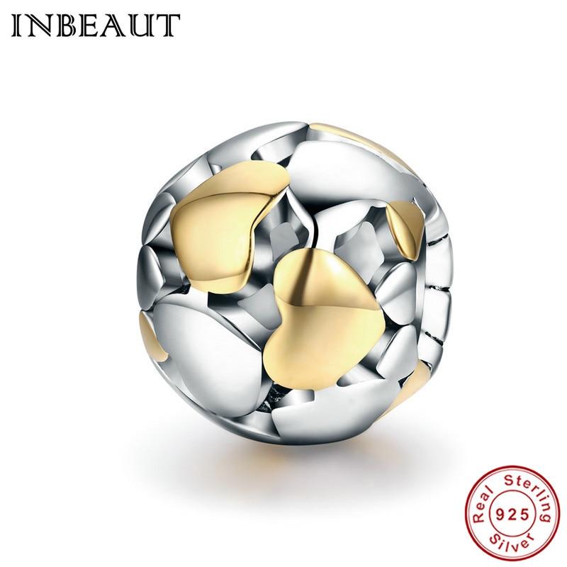 INBEAUT 100% Plata de Ley 925 cuentas redondas de Corazón dorado brillantes se ajustan a la moda dijes pulsera para mujer regalo de boda joyería DIY