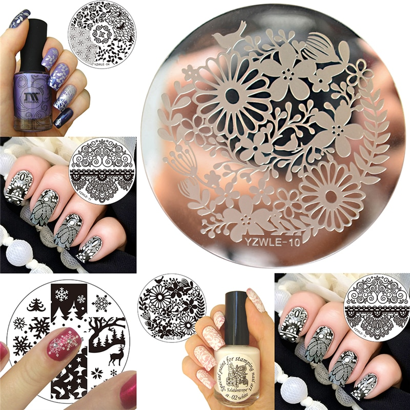 Rose Flower Nail Art Stamp Template Flower Mandala Butterfly Image Plate Nail Stamping Plate Manicure Tools 1pcs black flower lace nail stamping plates stainless steel nail art stamp template manicure tools uv gel nails art decorations
