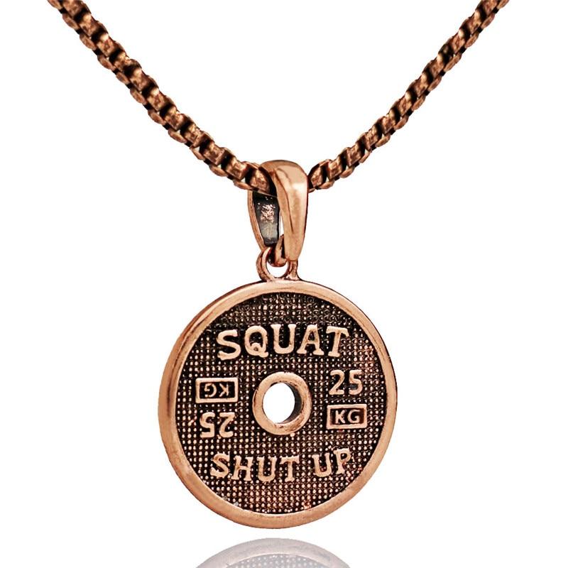 Медное ожерелье из нержавеющей стали с буквенным мотивом для фитнеса для мужчин и женщин, подвеска с мотивом бодибилдинга, ожерелье для тренировок
