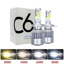 Muxall-voiture Blub H8 H11 H7 H4 H1 6000K   2 pièces, phares blanc froid 72W 8000LM ampoules COB, Diodes pièces Automobiles