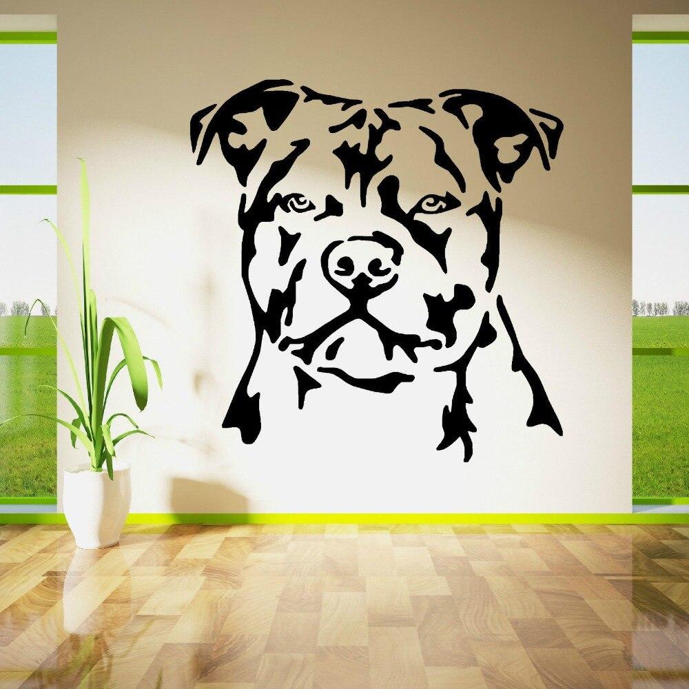 Etiqueta engomada de la pared del Bullterrier de la cabeza del perro del toro más vendido vinilo de la pared de la habitación del hogar Decoración de la pared calcomanías de vinilo de la pared Y-830