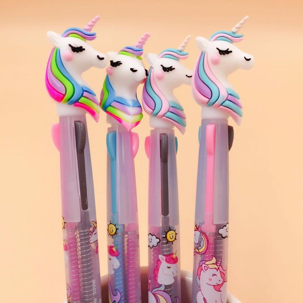 Bolígrafo grueso de dibujos animados de unicornio de 3 colores para escuela y oficina de Ellen Brook, 1 pieza, papelería Escolar de regalo, 0,5mm