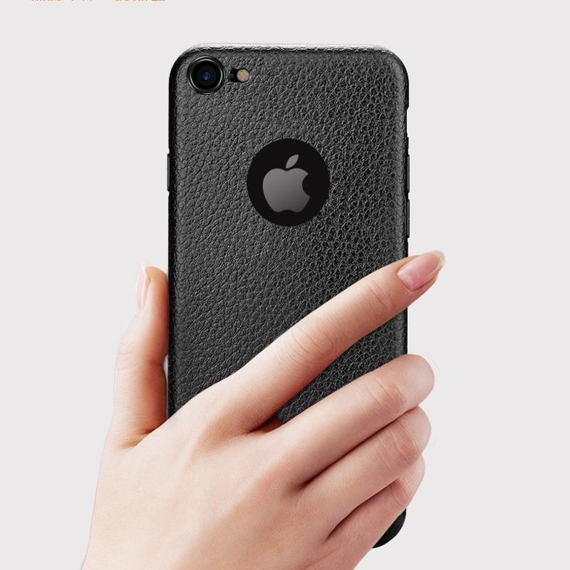 Dla iphone 7 plus iphone 7 case silicon ultracienkich tpu miękka skóra wzór case dla iphone 6 6s plus logo hole back cover czarny 8