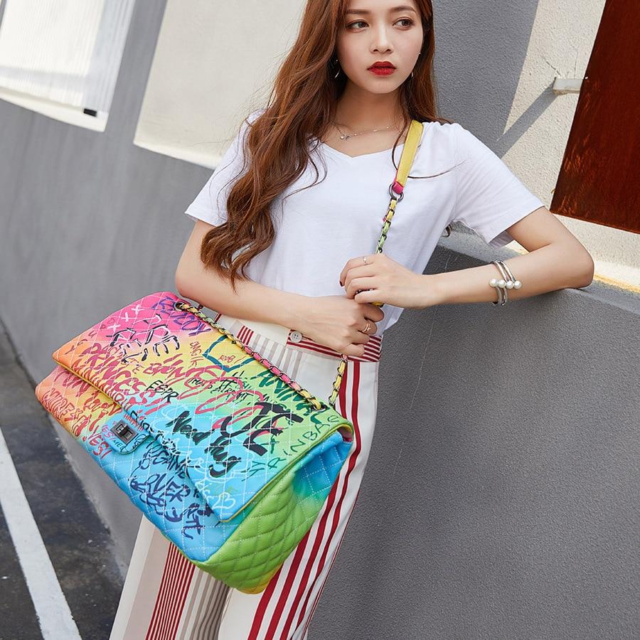 Large Capacity Women Pu Leather Chain Shoulder Bag High Quality Colorful Printed Ladies Handbags Luxury Designer Female Purse