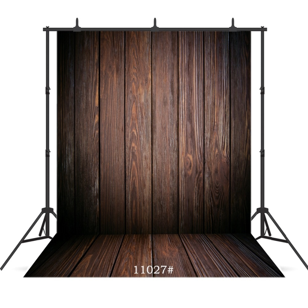 Vintage Grunge Black Wall Wooden Floor Vinyl Photography Background for Child Baby Shower New Born Portrait Customized Backdrop