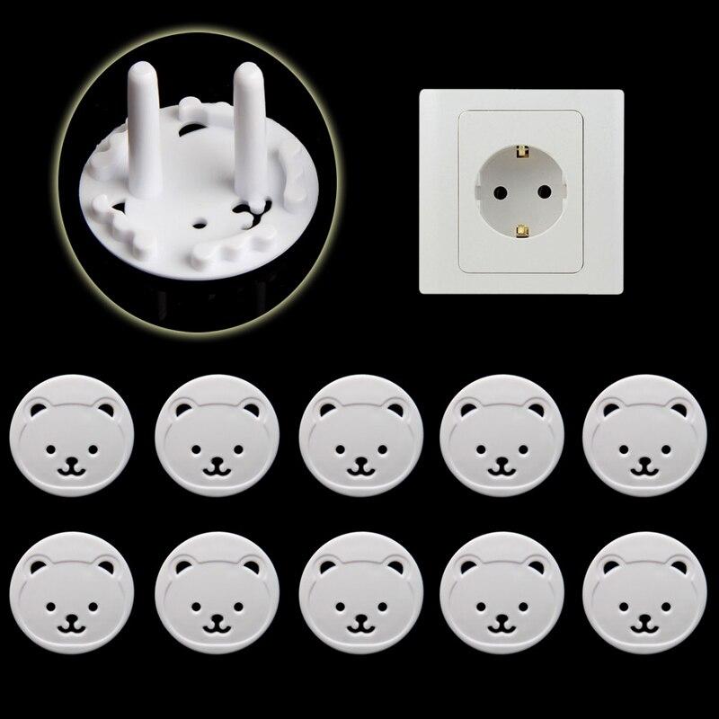 10 шт., электрическая розетка с мишкой для ЕС, защита для детей, защита от электрического удара