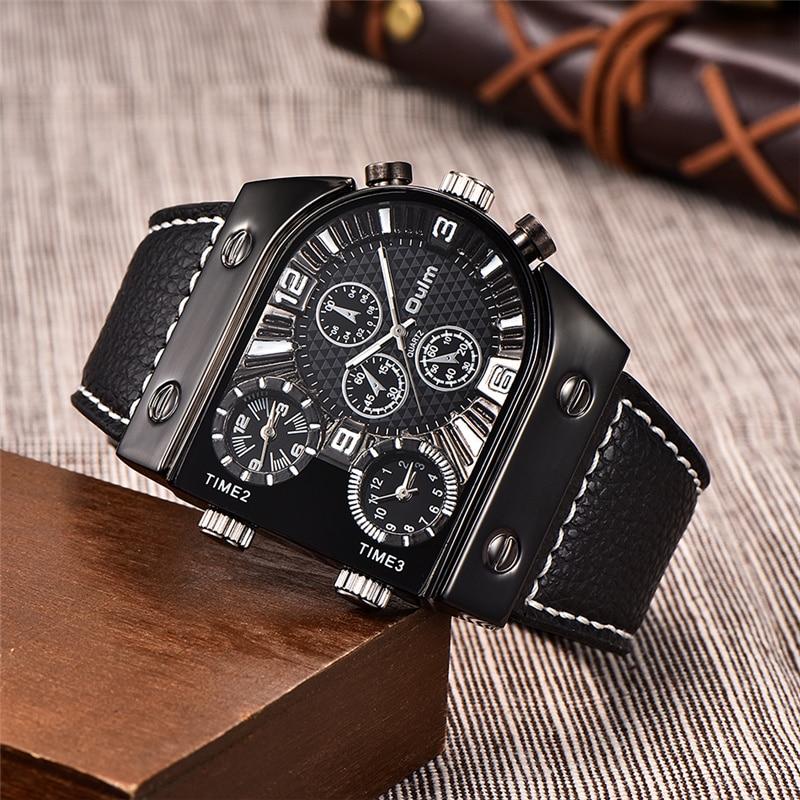 Mode Militaire Mens Waches PU Leer Luxe Merk Oulm Multi-Tijdzone Sport Mannen Quartz Horloge