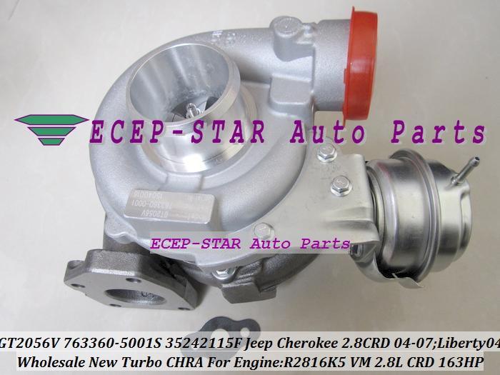 GT2056V 763360 763360-5001S 35242115F 763360-0001 turbocompresor para Jeep cheroki 2004-07; Liberty 2004 R2816K5 virtual 2.8L CRD